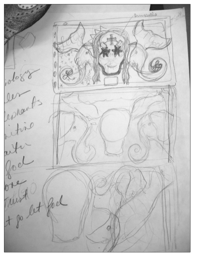 sketching and planning the ofrenda