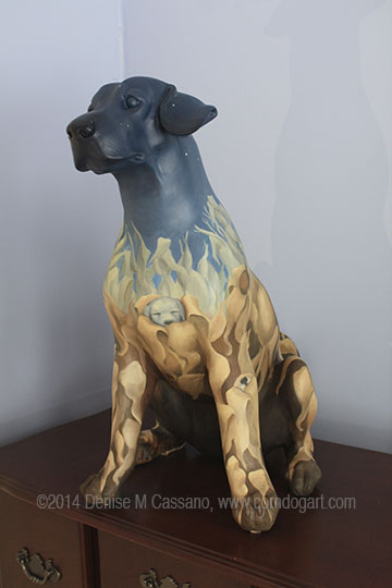 Sleepy Puppy Sculpture, Denise M. Cassano